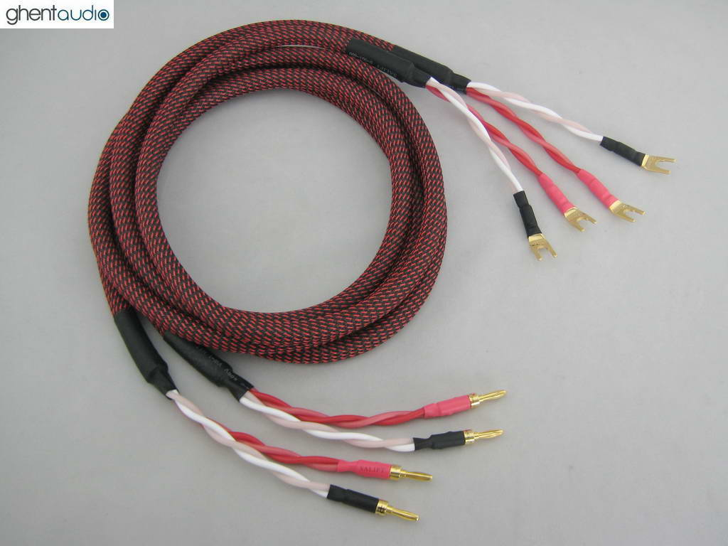 ---Canare 4S12F Star Quad 13awg Speaker Cable Banana to Spade Y S01 A 2.5m 8ft